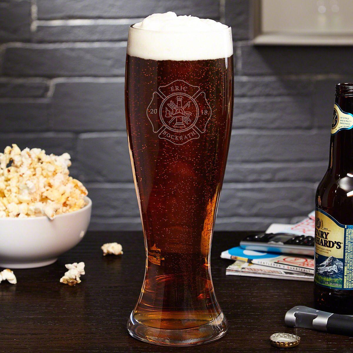Firefighter Huge XL Custom Engraved Beer Glass