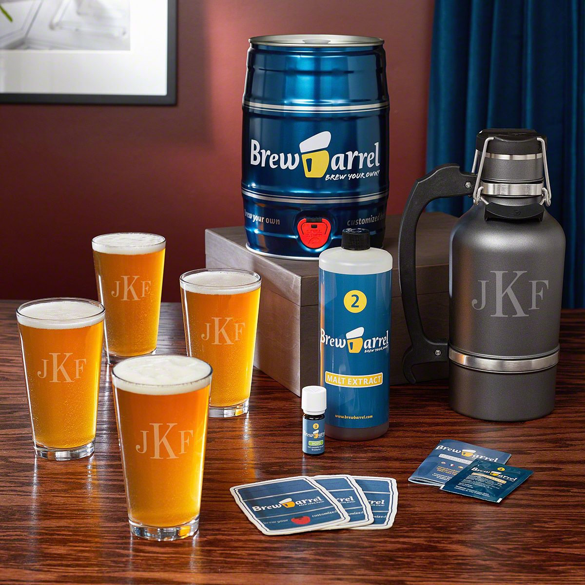 Brew Barrel Beer Making Kit with Monogram Glasses and Growler
