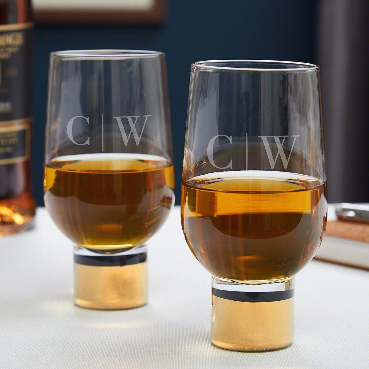 Quinton Monogram Gold Whiskey Glasses Set of 2