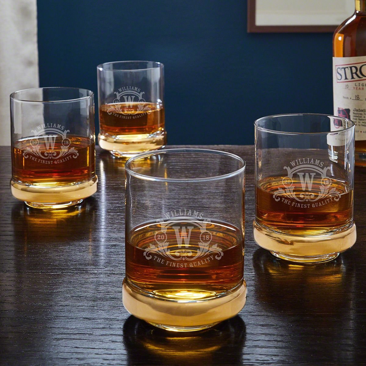 Gold Band Westbrook Monogrammed Whiskey Glasses Set of 4