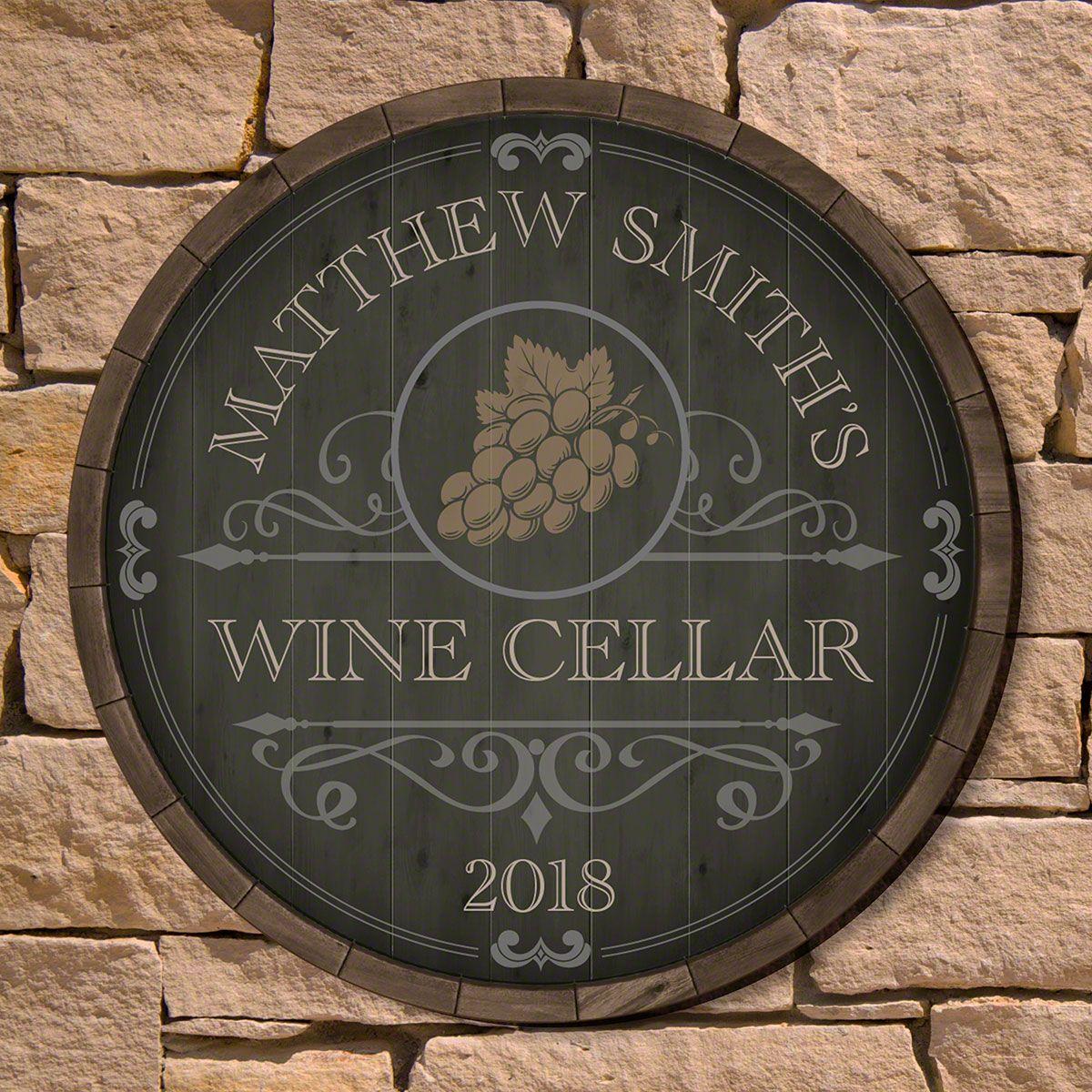 Beauteous Barrel Personalized Wine Cellar Sign (2 Designs)