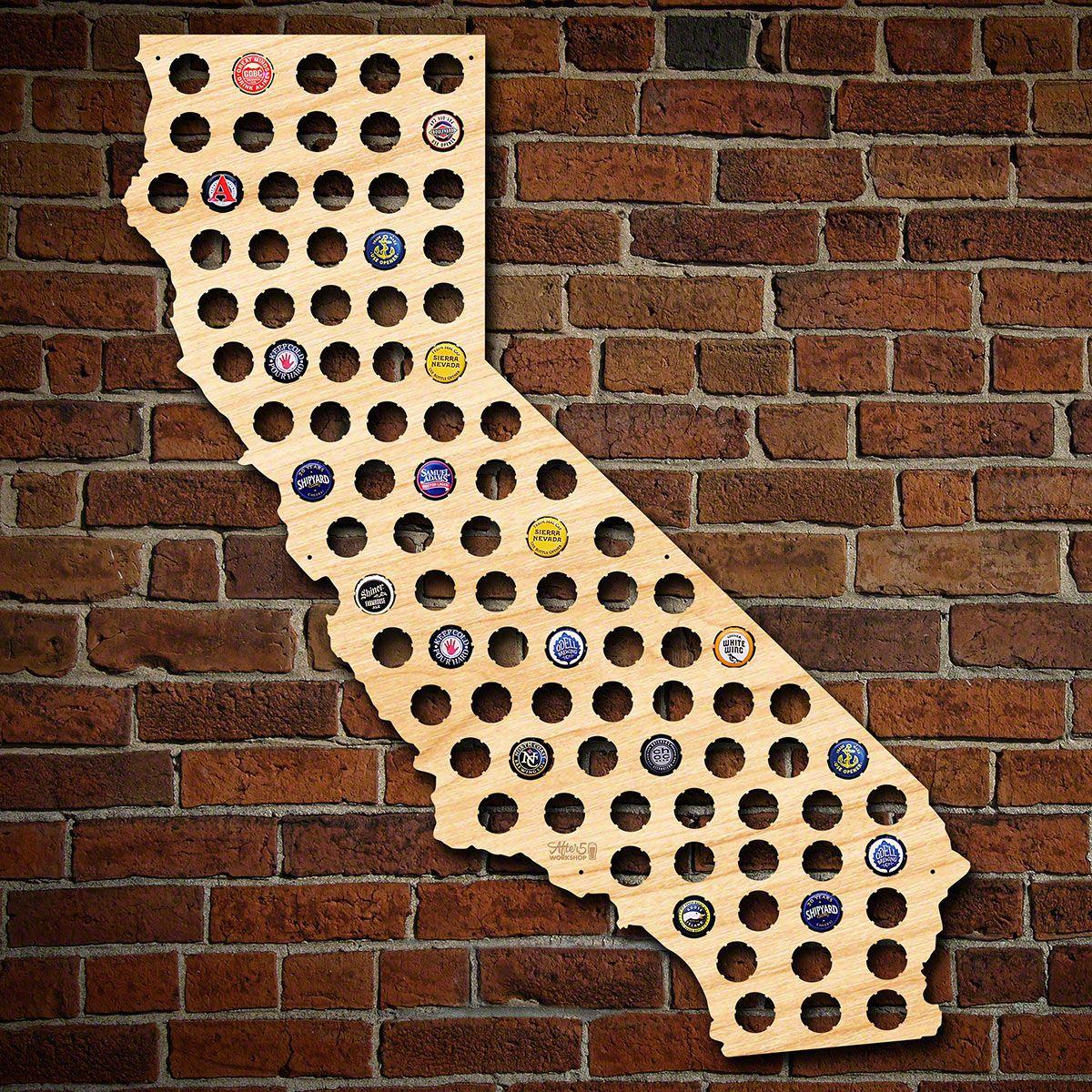 Giant XL California Beer Cap Map
