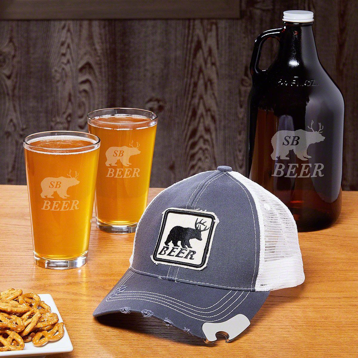 Bear Beer Deer Baseball Cap Bottle Opener & Personalized Glassware