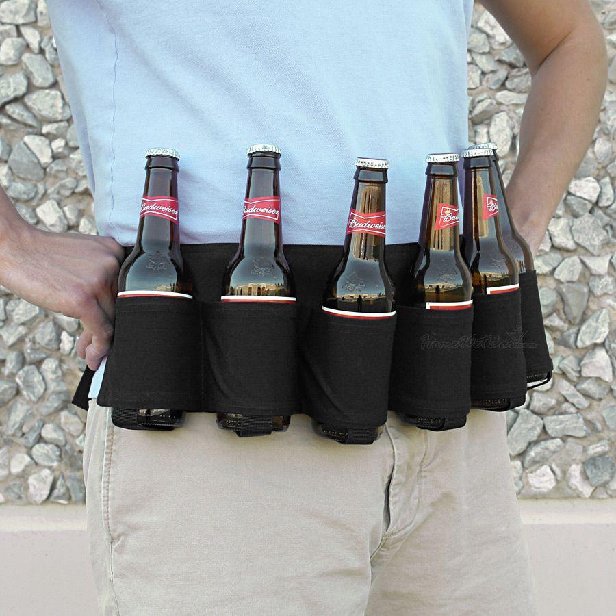 Black Six-Pack Beer Holster Belt