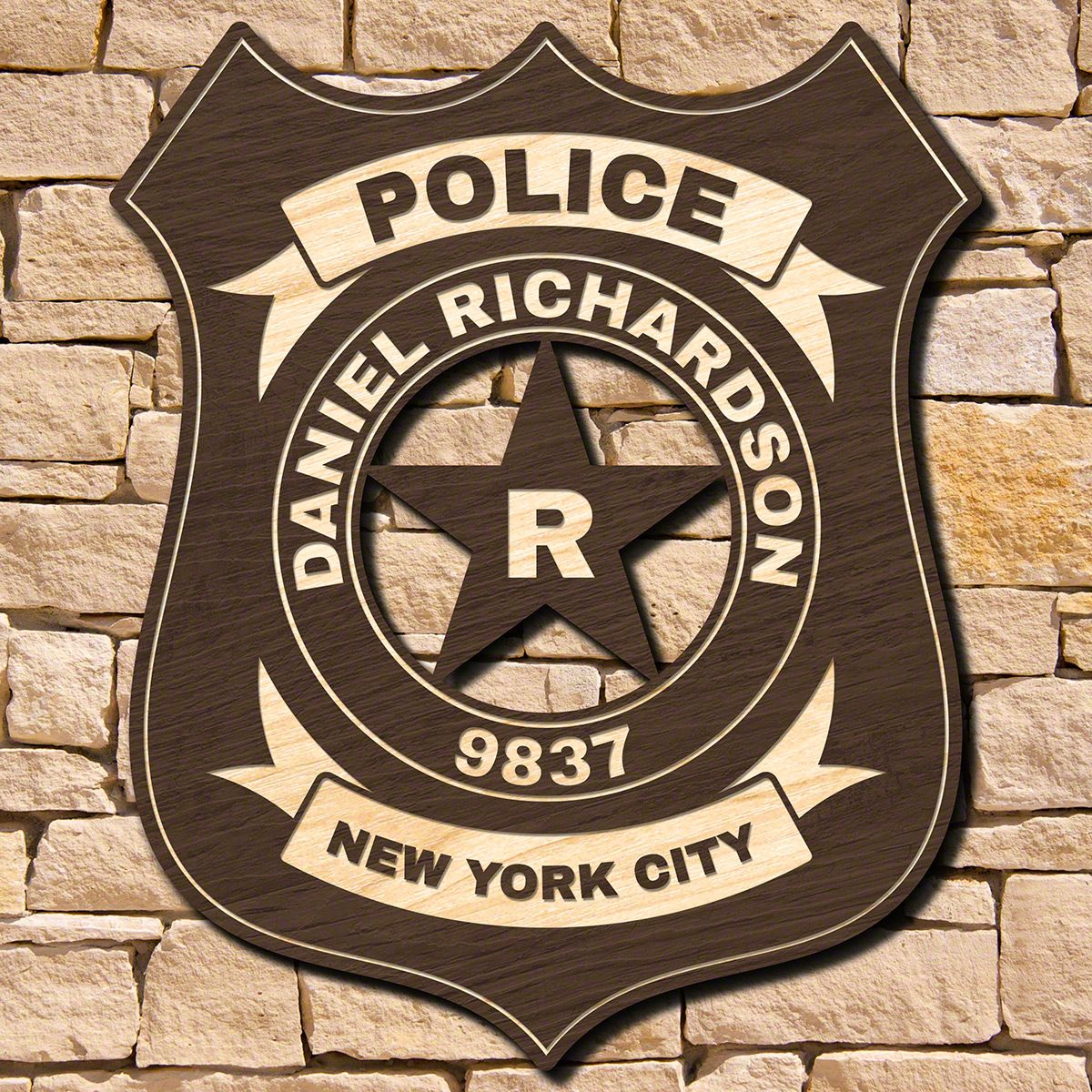 Classic Police Badge Personalized Sign for Officers (Signature Series)