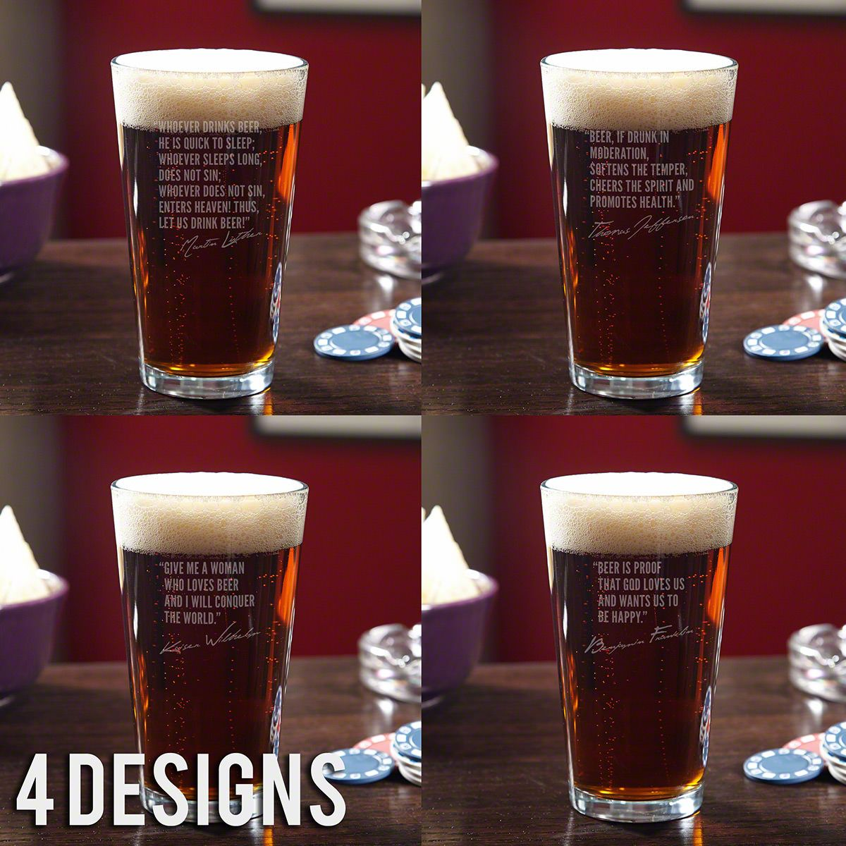 Famous Men of Beer Etched Pint Glass (Select a Design)