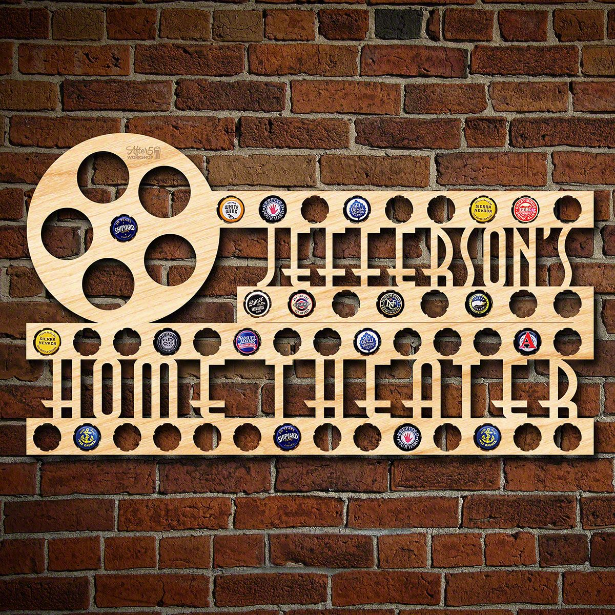 Home Theater Personalized Beer Cap Holder