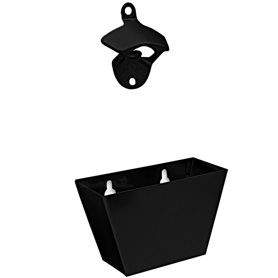 Black Cast Iron Bottle Opener and Cap Catcher Set