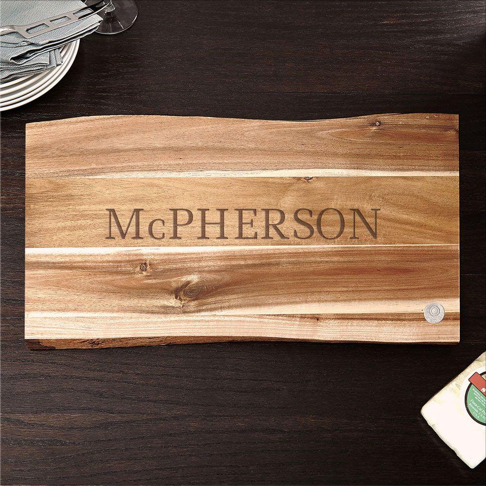 In the Raw Classic Cut Personalized Wood Cutting Board, 11X17