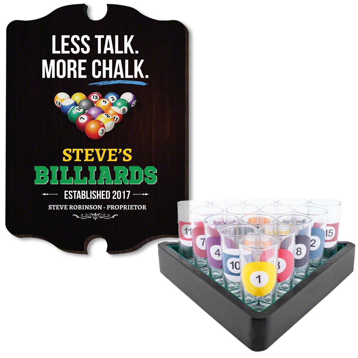 Rack Em Up Billiards Sign and Shot Glass Set
