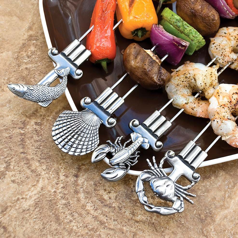No-Spin, Double-Pronged Seaside Grill Skewers