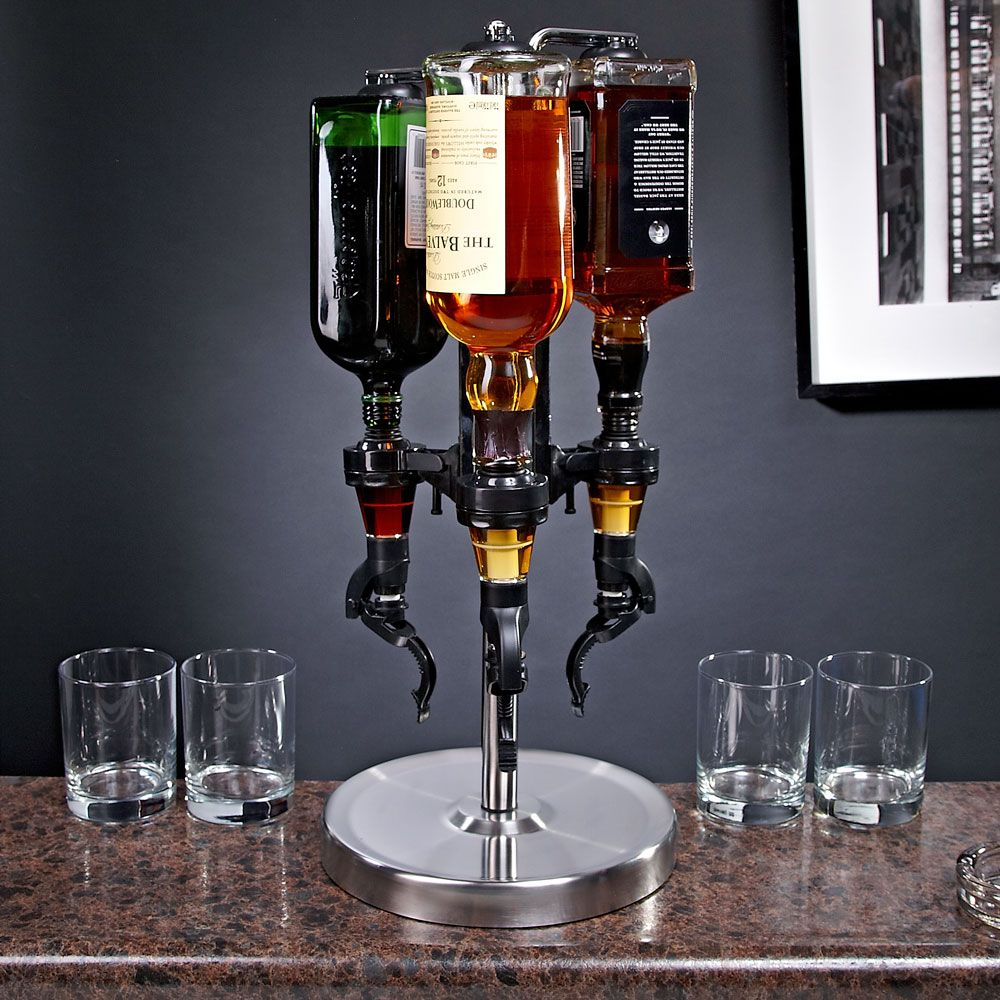 3-Bottle Revolving Liquor Dispenser