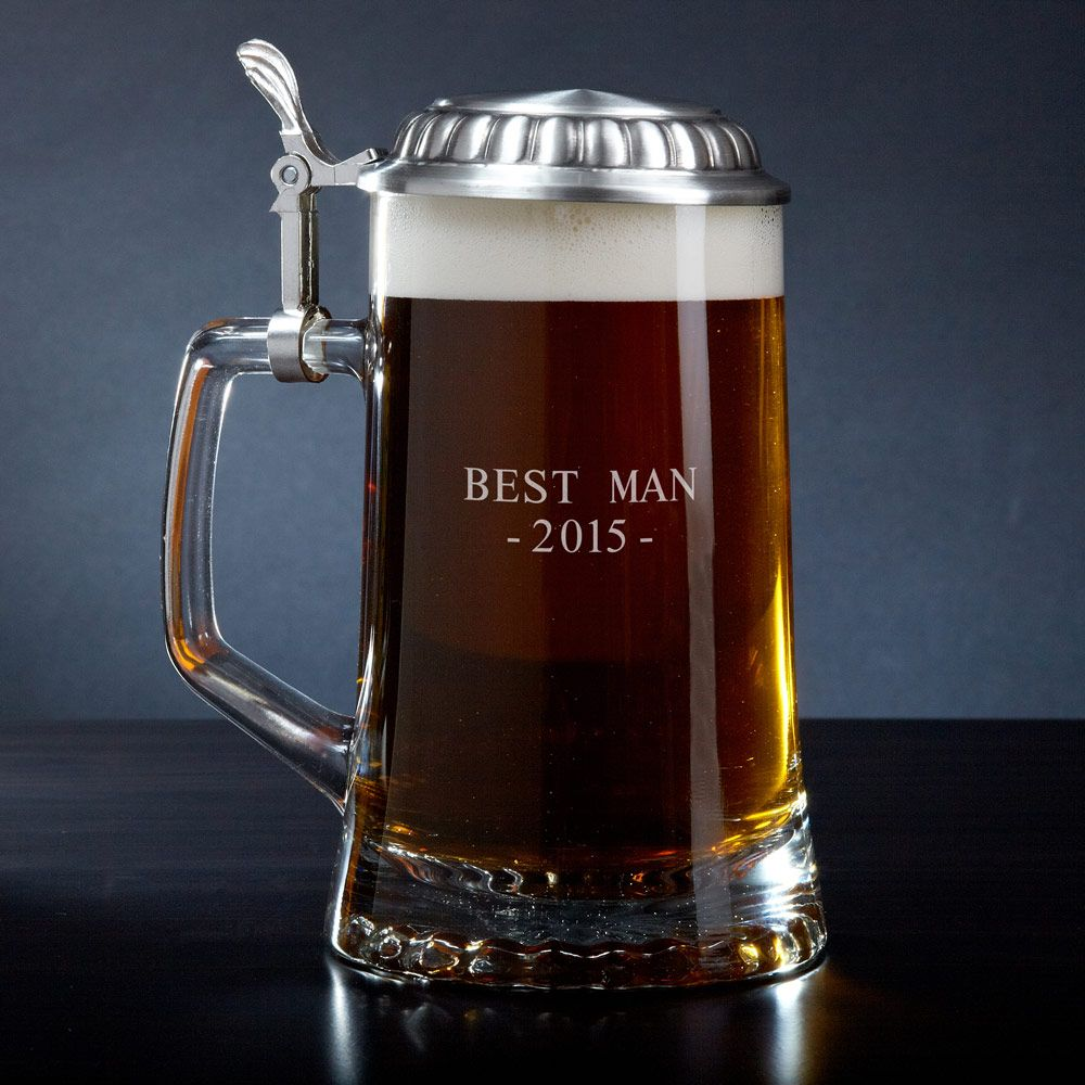 Personalized European Glass Beer Stein
