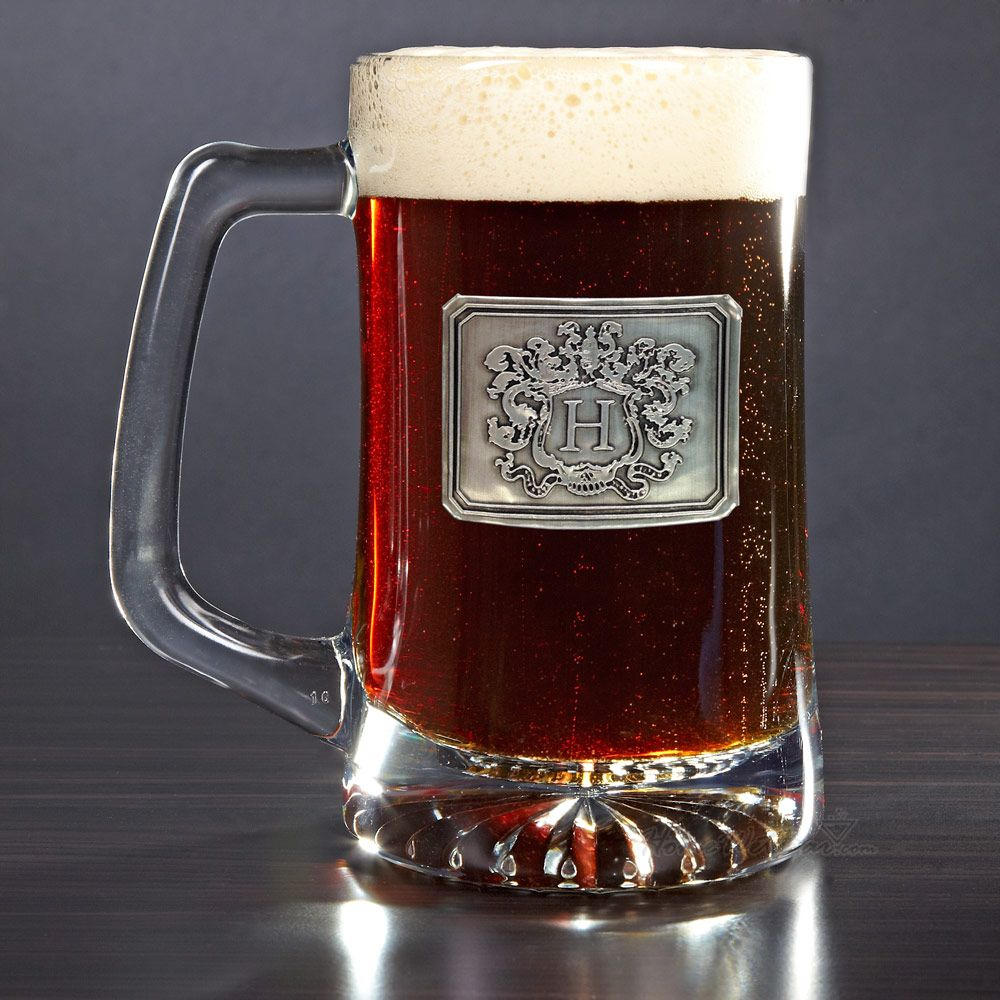 Embossed Beer Mug with Personalized Crest