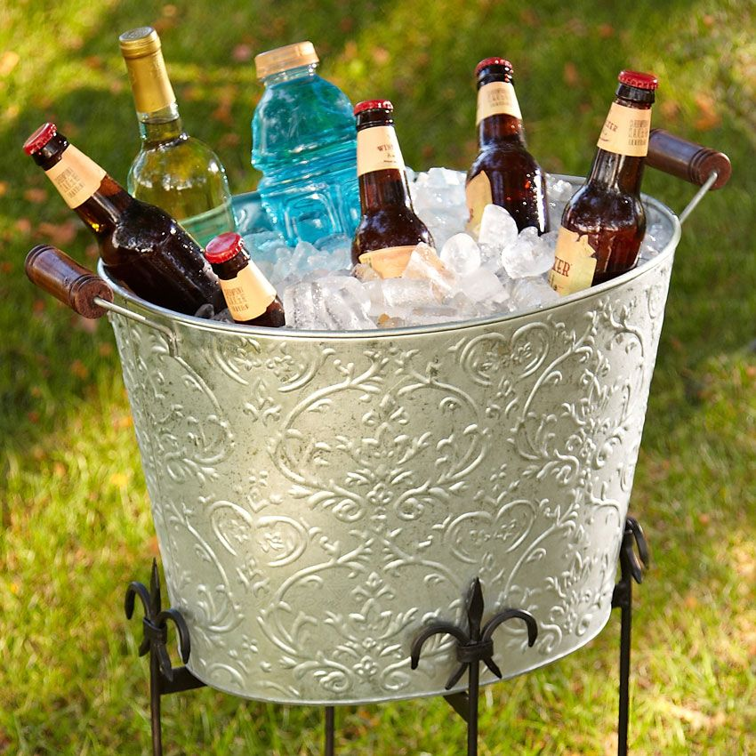 Silver Damask Beverage Bucket