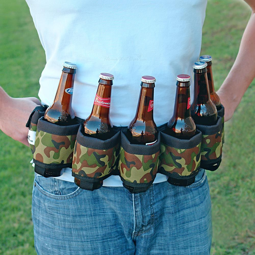Deluxe Six-Pack Beer Belt Holster, Camo