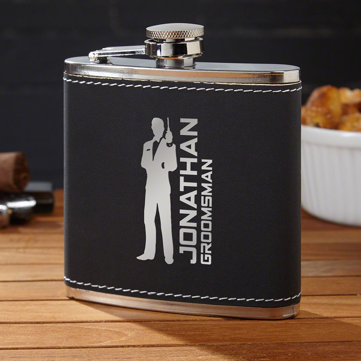 Secret Agent Personalized Black Flask for Groomsmen Gifts