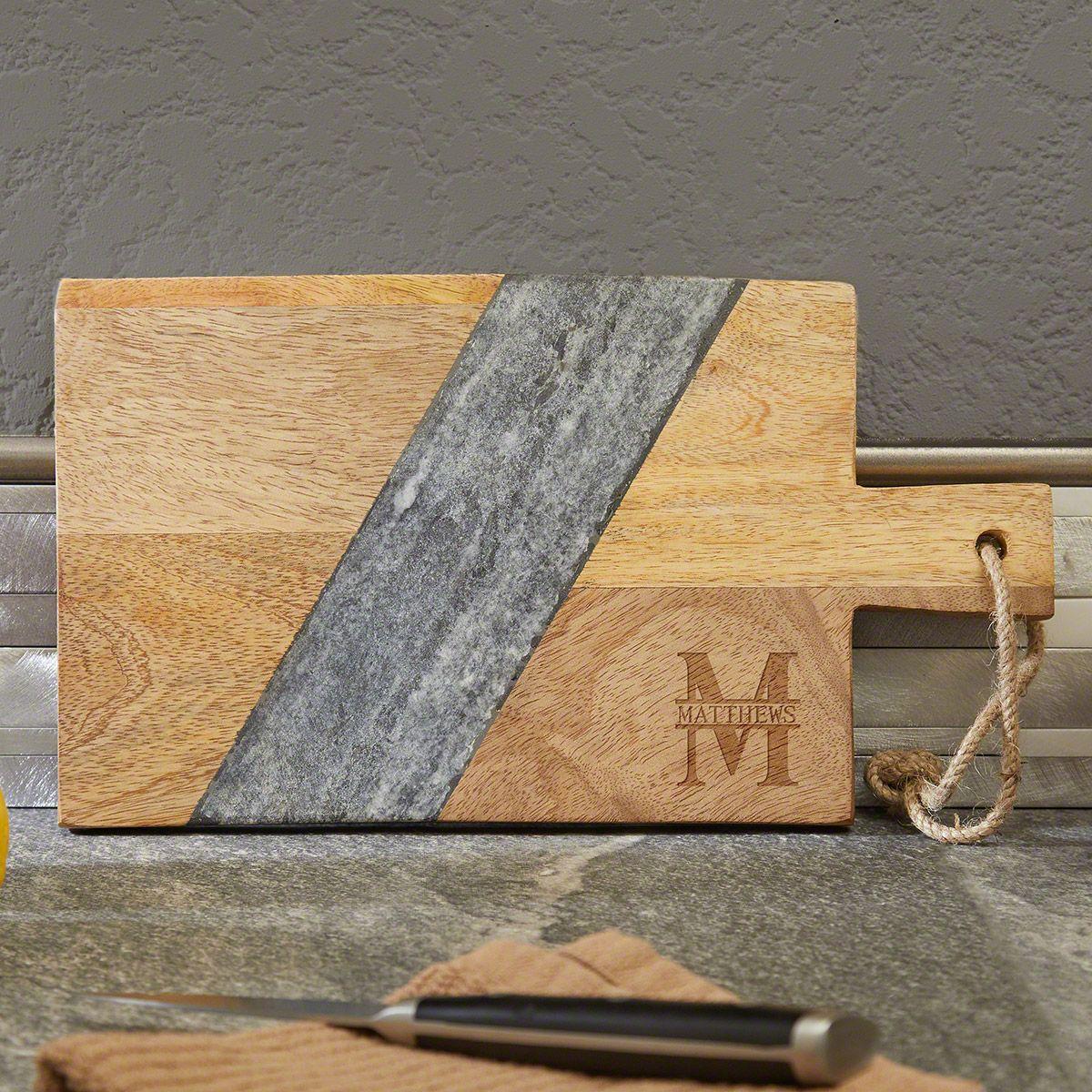 Oakmont Mango Wood & Marble Personalized Cutting Board