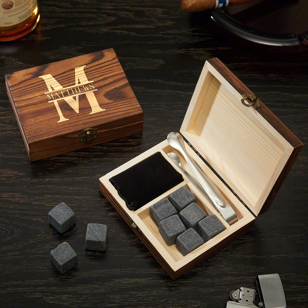 Whiskey Stones Set Gift Box with Tongs