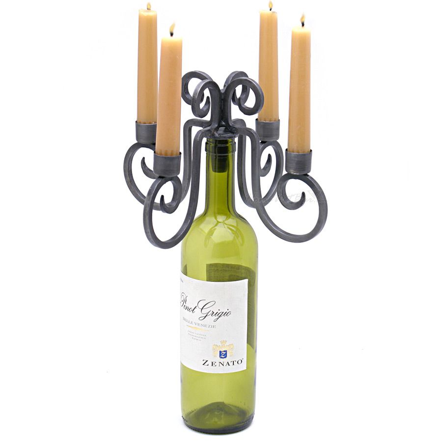 Relic 4-Candle Wine Bottle Candelabra