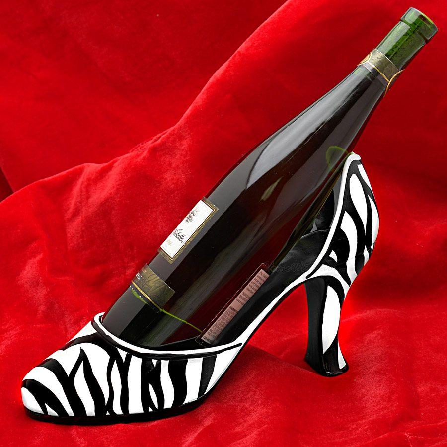 Zebra Couture Shoe Wine Bottle Holder