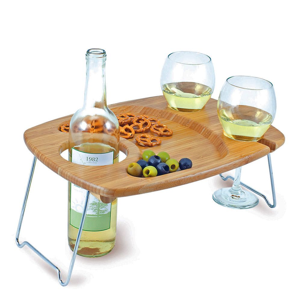 Bamboo Picnic Wine Tray with Legs