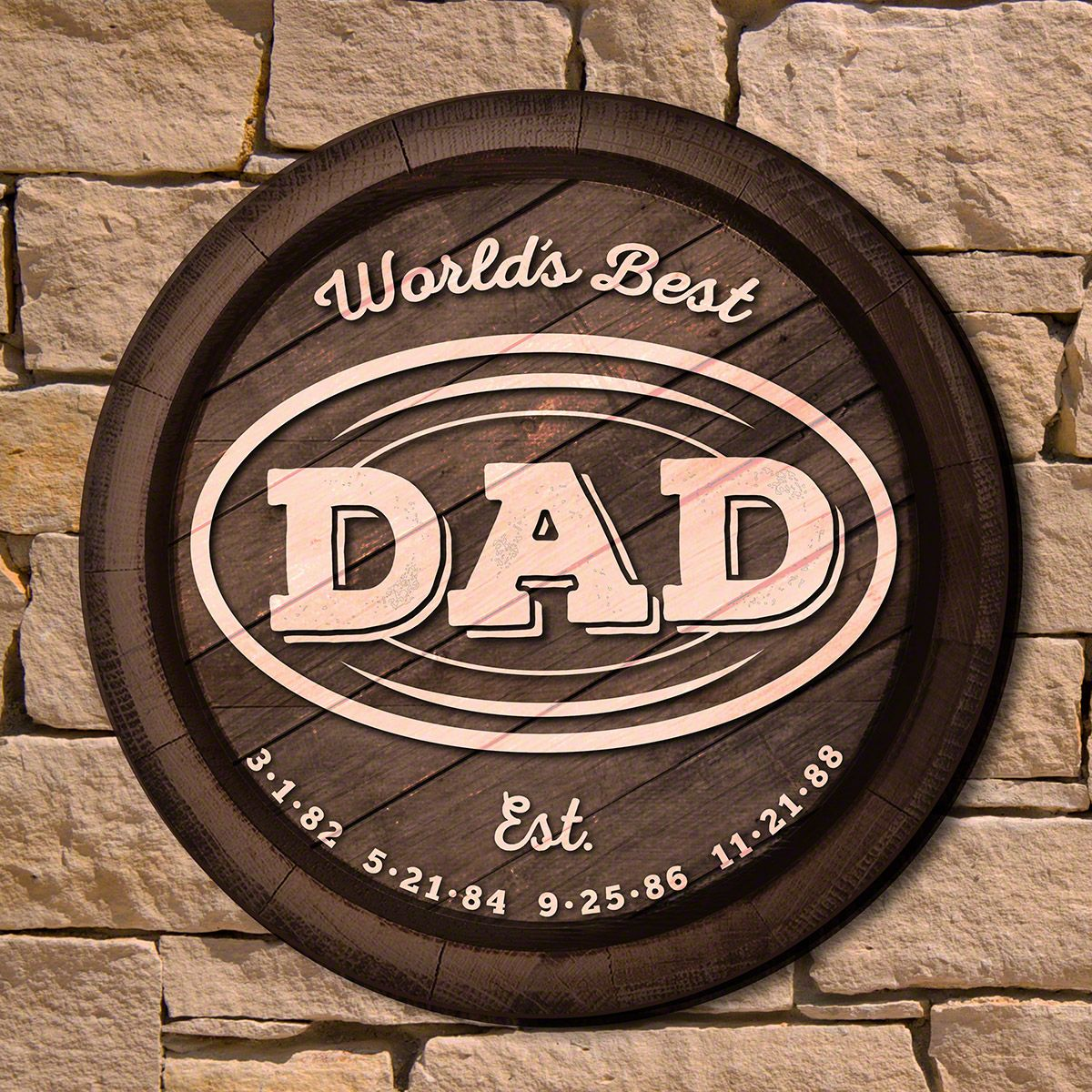 Worlds Best Dad Round Wooden Sign