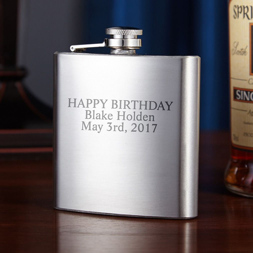 Traditional Stainless Steel Flask, 6oz (Engravable)