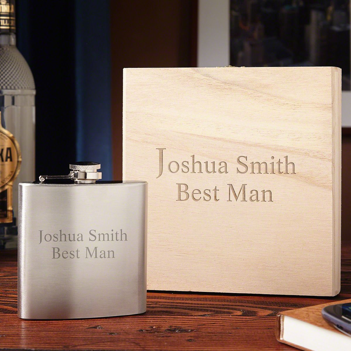 Personalized Flask Gift Set with Engraved Box