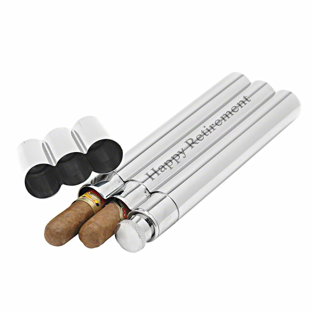 Monte Carlo Stainless Steel Flask and Cigar Tubes (Engravable)