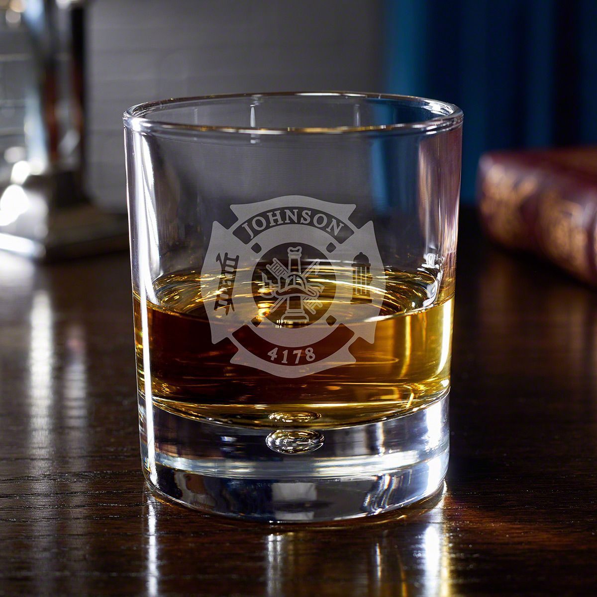 Fire & Rescue Personalized Rocks Glass for Firefighters