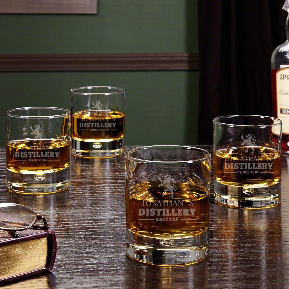 Royal Standard Personalized Whiskey Glasses, Set of 4