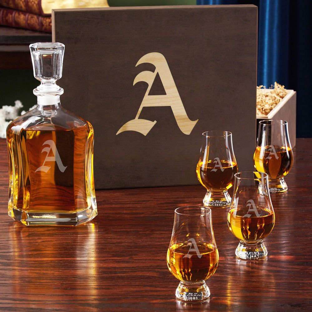 Engraved Gift Box with Crystal Glencairn Whiskey Glasses