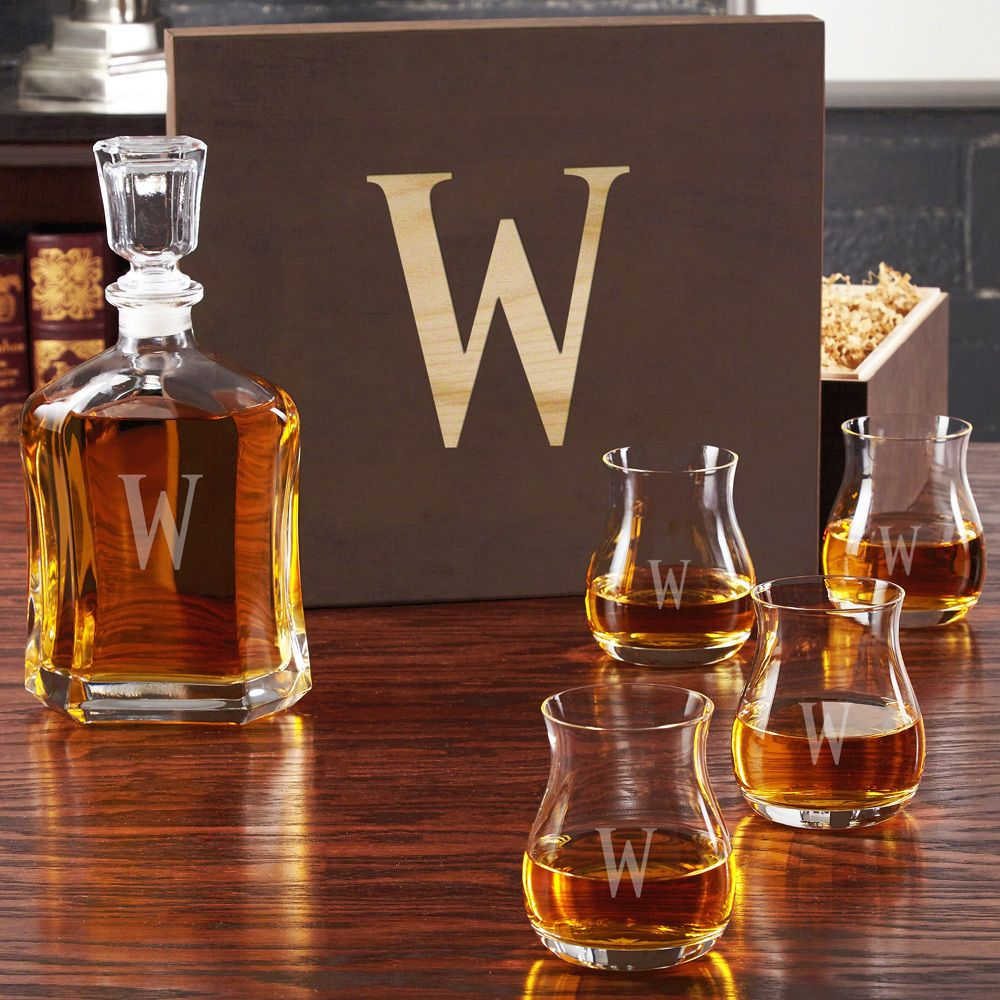Engraved Decanter with Glencairn Wide-Bowl Glasses and Gift Box