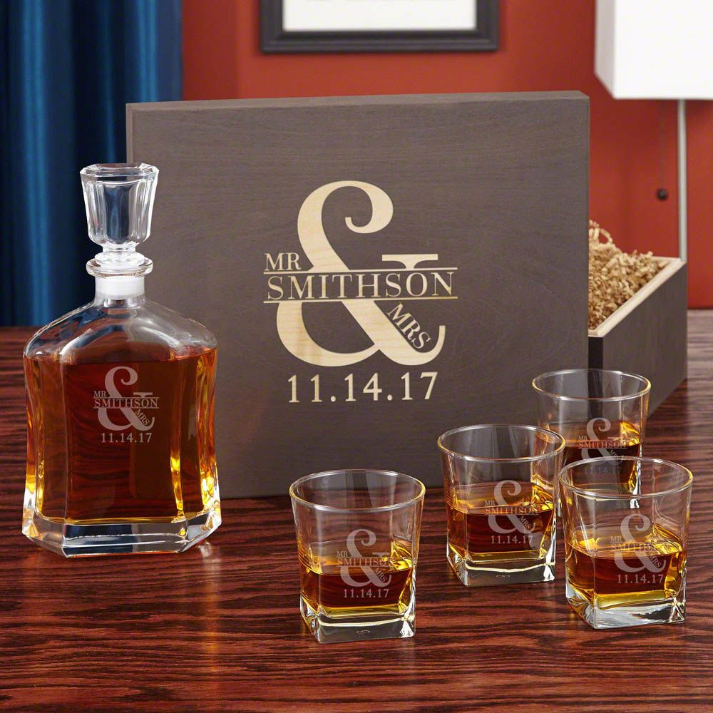 Love & Marriage Whiskey Decanter Set with Wooden Keepsake Box