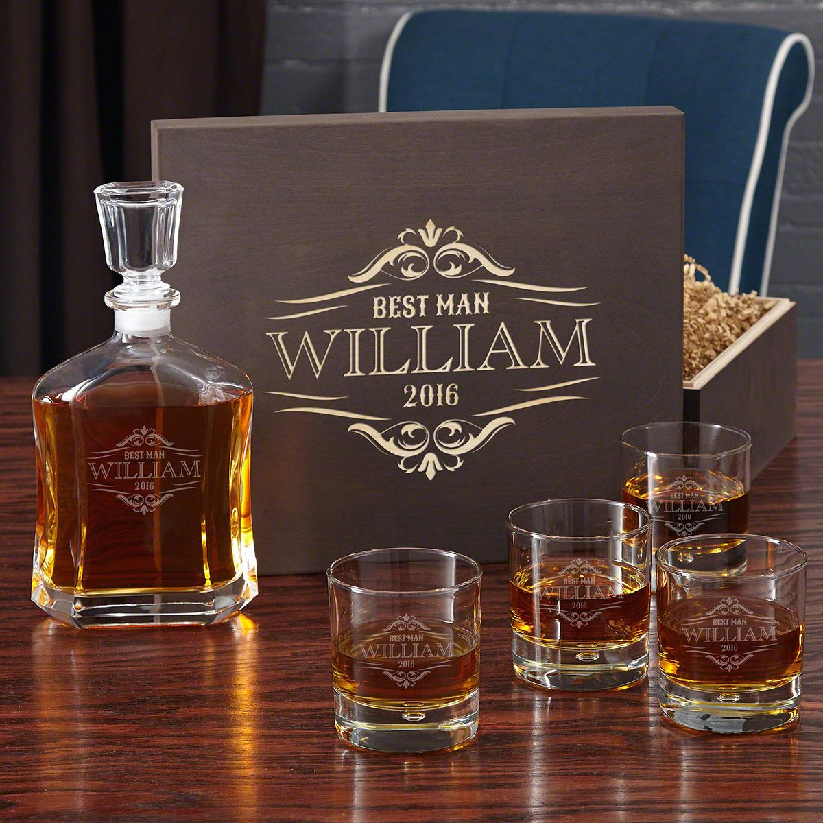 Wilshire Whiskey Gift Set with Engraved Rocks Glasses