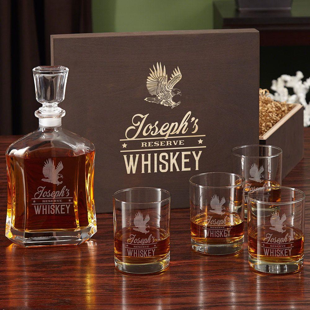 Rushmore Engraved Liquor Decanter Set