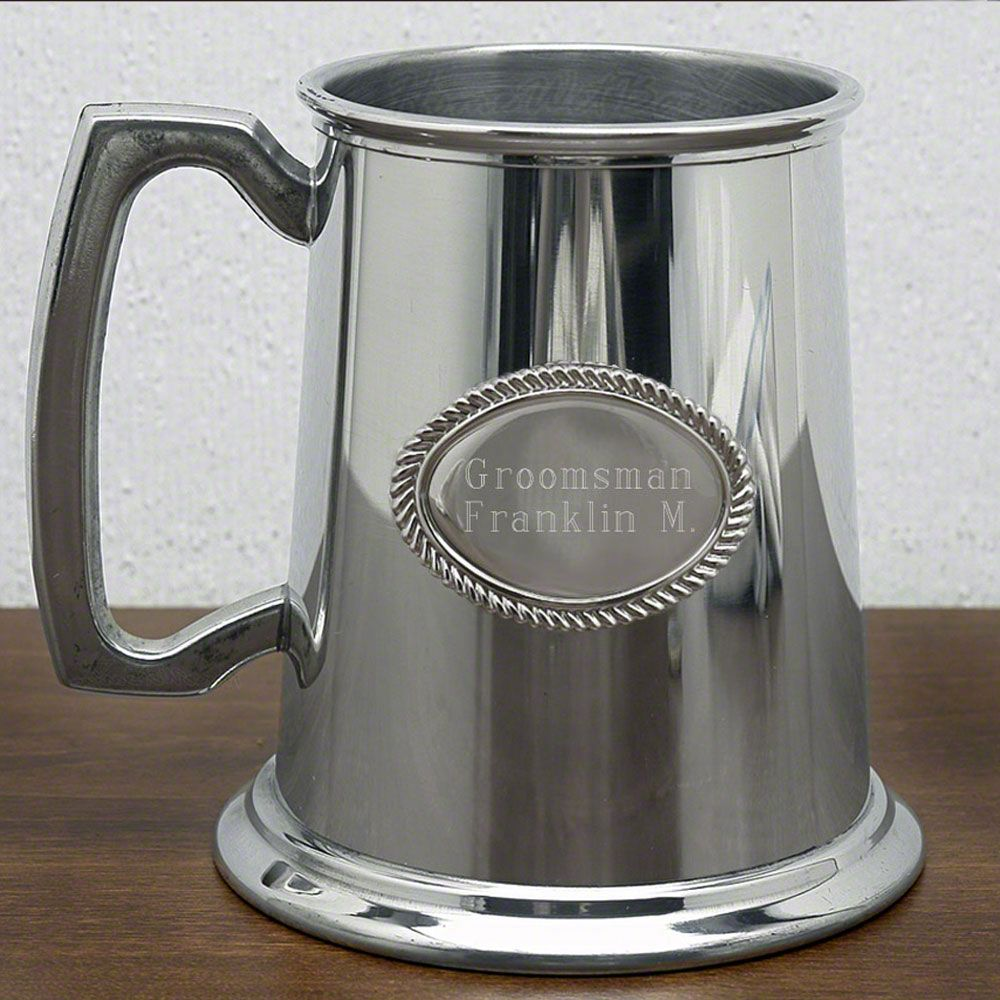 Glass Bottom Refined Pewter Tankard (Engravable)
