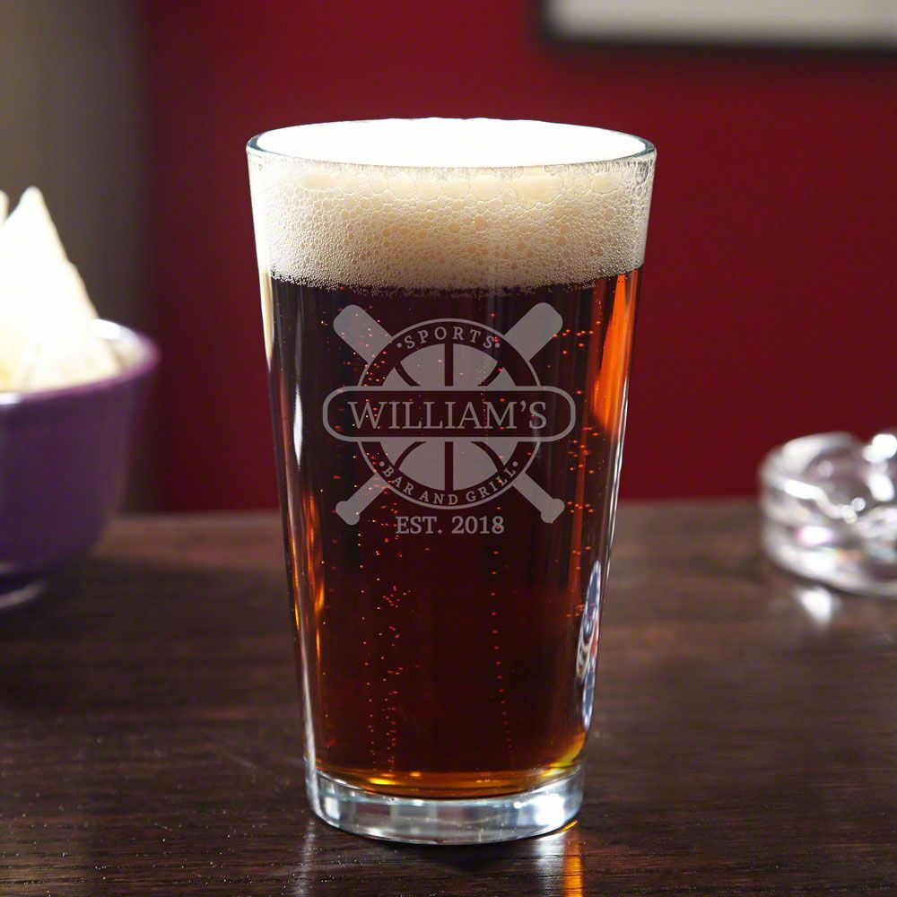 Sports Bar & Grill Personalized Beer Glass