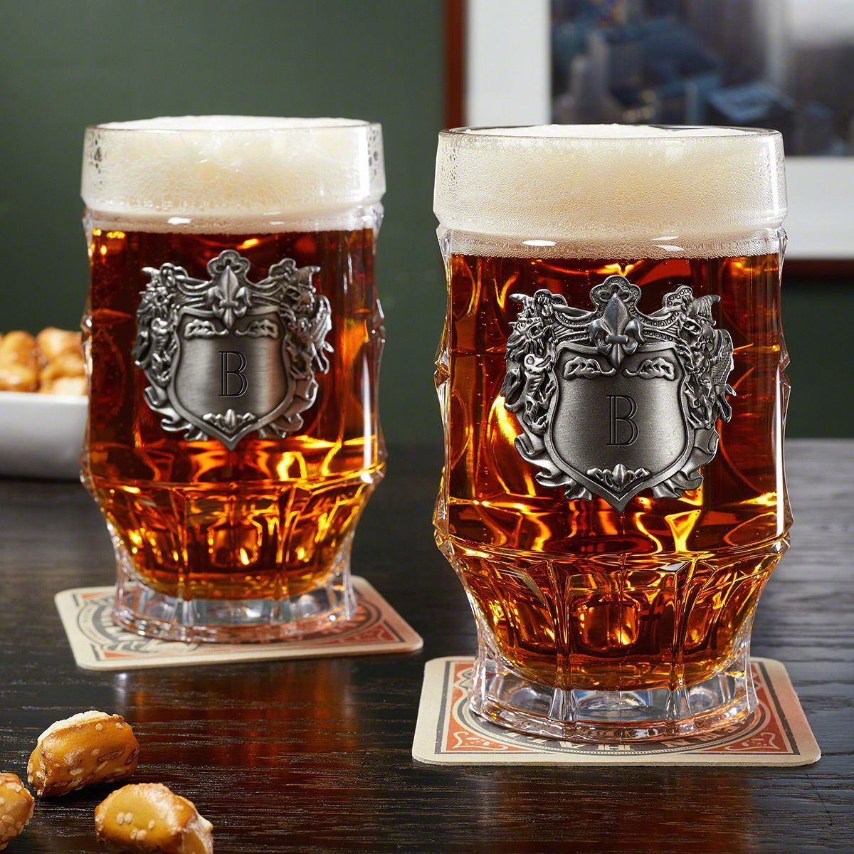 Strasbourg Glass Steins with Personalized Crests, Set of 2