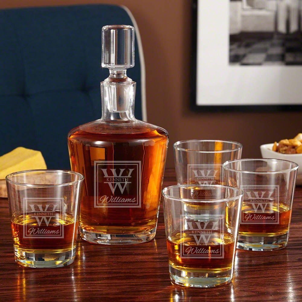 Oakhill Personalized Whiskey Decanter Set with On the Rocks Glasses