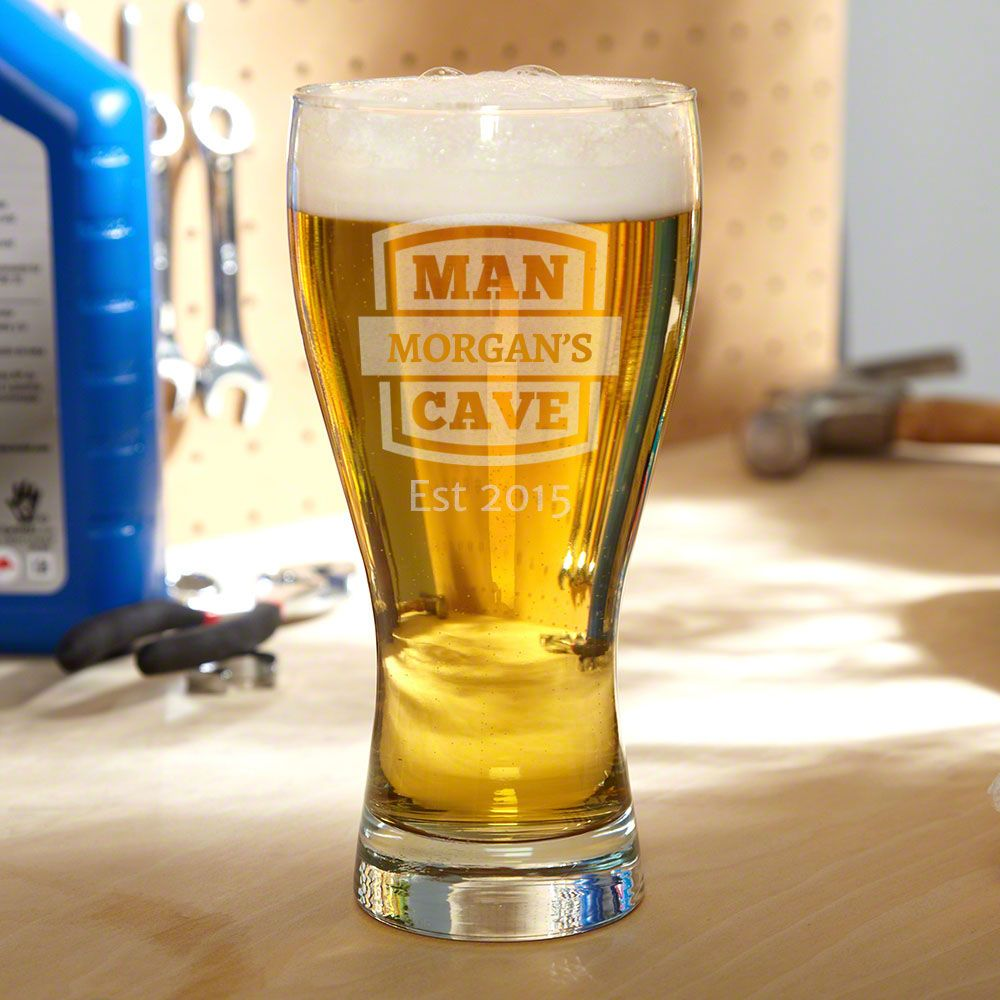 Man Cave Personalized Pilsner Glass