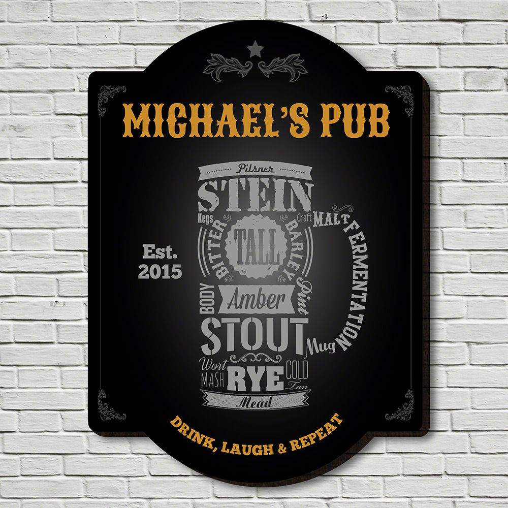 Modern Beer Personalized Bar Sign