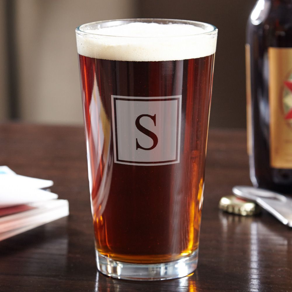 Personalized Pint Glass with Block Monogram
