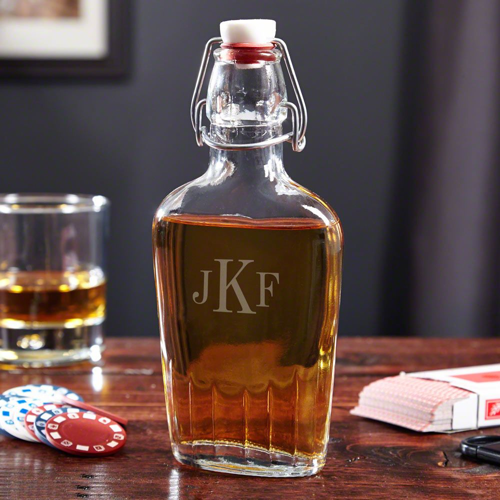 Speakeasy Monogrammed Glass Flask