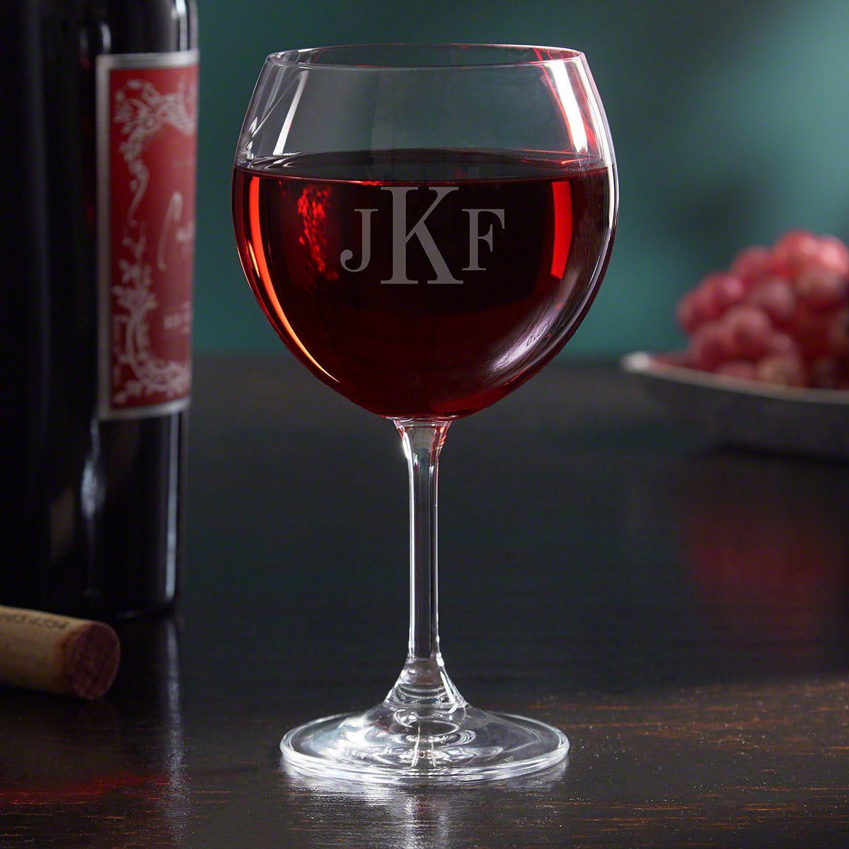 Monogrammed Red Wine Glass, 19 oz