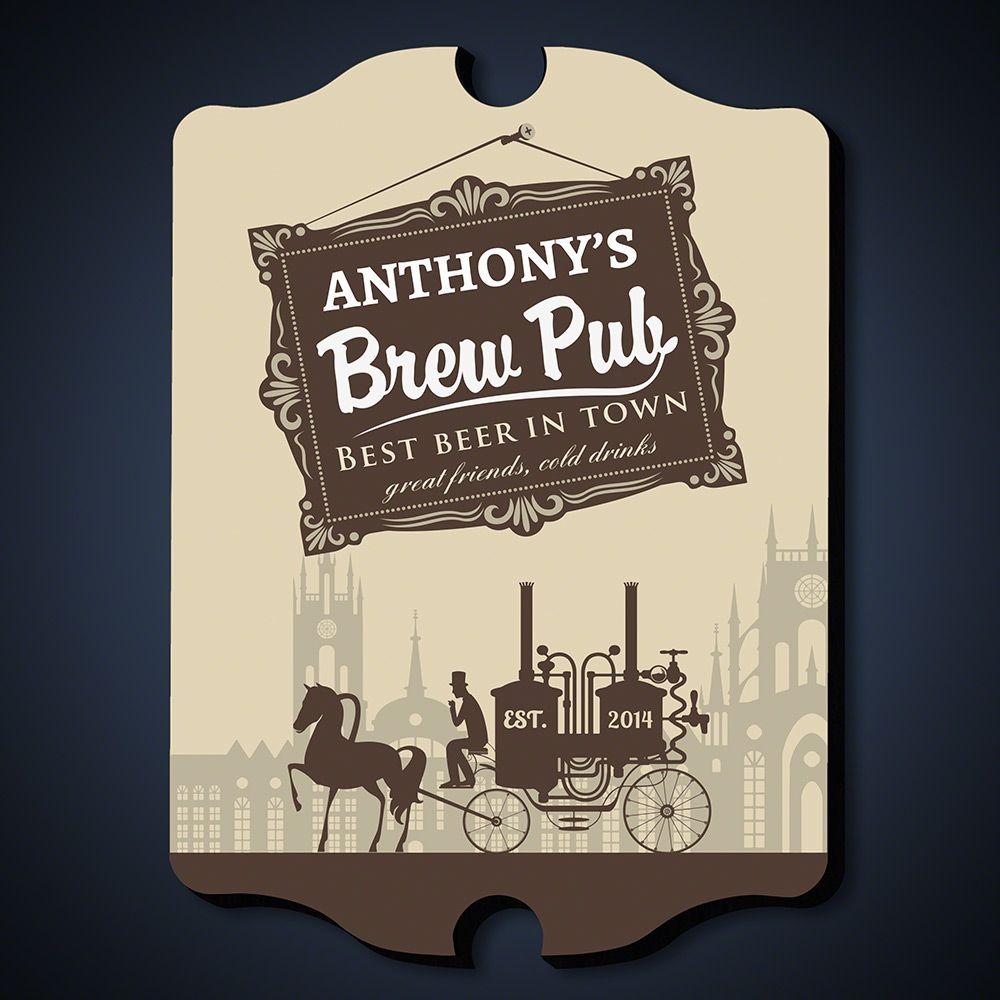 Pre-Prohibition Brew Pub Personalized Sign
