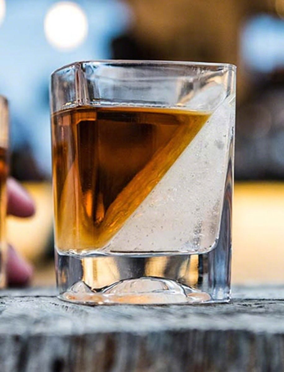 Whiskey Wedge Rocks Glass and Ice Form, Engravable