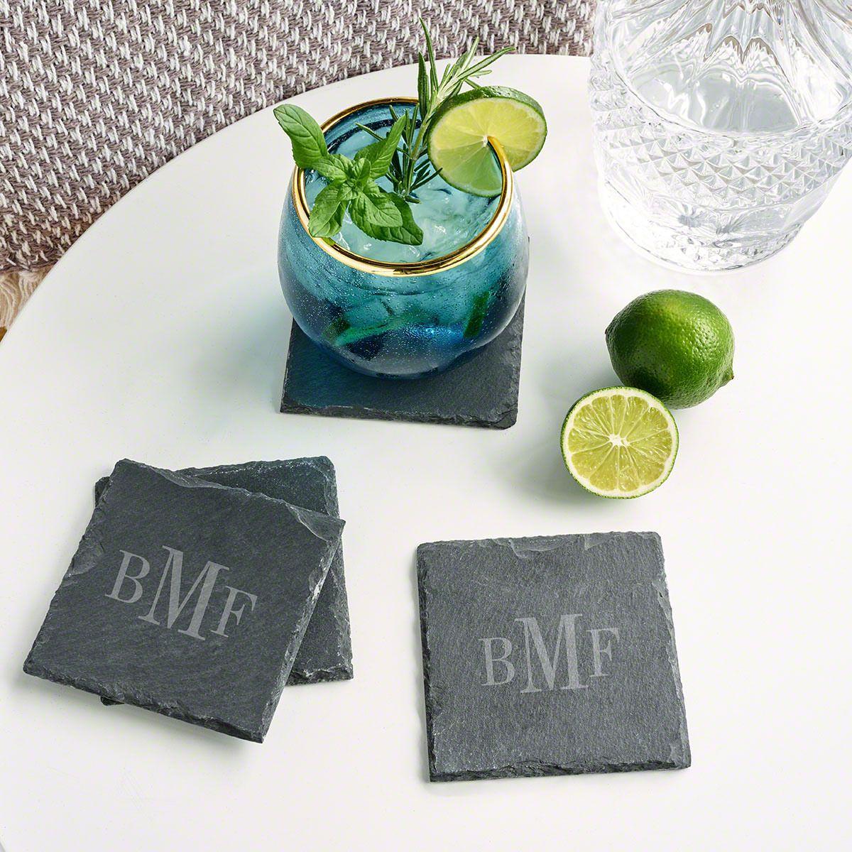 Classic Monogrammed Slate Drink Coasters