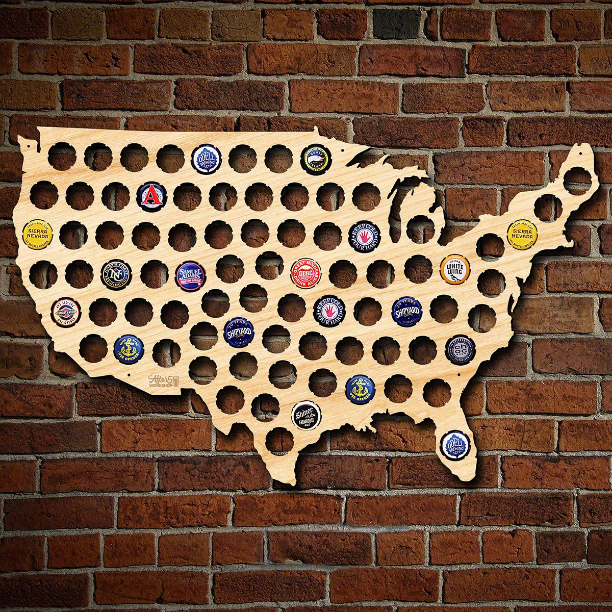 Beer Cap Map of USA, Large